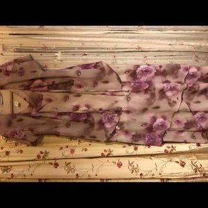 R&M two piece dress purple floral Sz 10